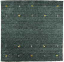 Gabbeh Loom Two Lines - Gri Închis/Verde Covor 200X200 Modern Pătrat Verde Închis/Întuneric Turquoise (Lână, India)