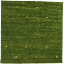 Gabbeh Loom Two Lines - Verde Covor 200X200 Modern Pătrat Verde Închis (Lână, India)