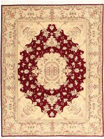 Tabriz 50 Raj Cu Mătase Covor 150X197 Orientale Lucrat Manual Bej/Roșu-Închis (Lână/Mătase, Persia/Iran)