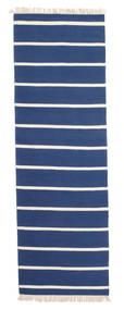 Dorri Stripe - Albastru Închis Covor 80X250 Modern Lucrate De Mână Albastru/Bej (Lână, India)