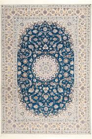 Nain 6La Habibian Covor 204X304 Orientale Lucrat Manual Gri Deschis/Bej-Crem (Lână/Mătase, Persia/Iran)