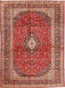 Kashan Covor 300X410 Orientale Lucrat Manual Roșu-Închis/Ruginiu Mare (Lână, Persia/Iran)