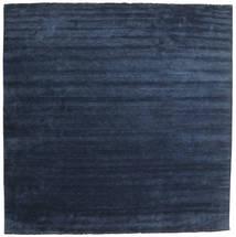 Handloom Fringes - Albastru Închis Covor 400X400 Modern Pătrat Albastru Închis/Albastru Mare (Lână, India)