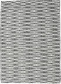 Chilim Long Stitch - Negru/Gri Covor 210X290 Modern Lucrate De Mână Gri Deschis/Albastru Turcoaz (Lână, India)