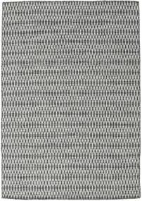 Chilim Long Stitch - Negru/Gri Covor 160X230 Modern Lucrate De Mână Gri Deschis/Gri Închis (Lână, India)