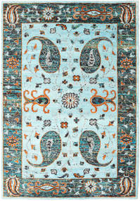Vega Sari Mătase - L.blue Covor 210X290 Modern Lucrat Manual Albastru Turcoaz/Gri Deschis (Mătase, India)