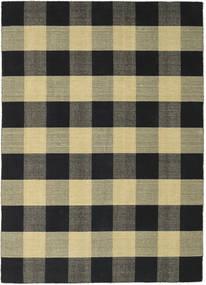 Check Kilim - Negru/Auriu Covor 240X340 Modern Lucrate De Mână Negru/Gri Închis/Verde Oliv (Lână, India)