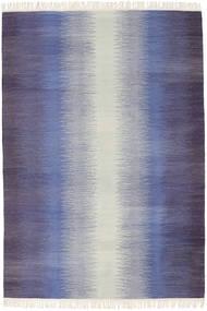 Ikat - Întuneric Albastru Covor 140X200 Modern Lucrate De Mână Violet Deschis/Gri Deschis/Roşu Închis (Lână, India)