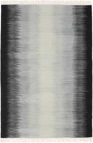 Ikat - Negru/Gri Covor 140X200 Modern Lucrate De Mână Gri Deschis/Negru (Lână, India)