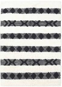Shaula - Negru/White Covor 140X200 Modern Lucrate De Mână Gri Închis/Bej/Bej-Crem (Lână, India)