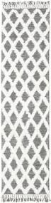 Inez - Maro Închis/White Covor 80X300 Modern Lucrate De Mână Gri Deschis/Bej-Crem (Lână, India)