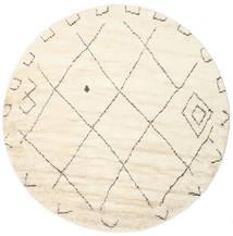 Almaaz - White Covor Ø 250 Modern Lucrat Manual Rotund Bej/Bej-Crem Mare (Lână, India)