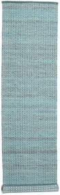 Alva - Turquoise/White Covor 80X350 Modern Lucrate De Mână Albastru Deschis/Întuneric Turquoise (Lână, India)