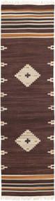 Tribal - Maro Covor 80X300 Modern Lucrate De Mână Maro Închis/Bej (Lână, India)