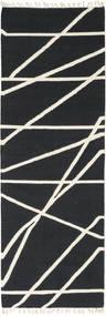 Cross Lines - Negru/Alburiu Covor 80X350 Modern Lucrate De Mână Gri Închis/Bej (Lână, India)