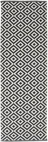 Torun - Negru/Neutral Covor 80X250 Modern Lucrate De Mână Negru/Gri Deschis (Bumbac, India)