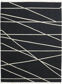 Cross Lines - Negru/Alburiu Covor 200X300 Modern Lucrate De Mână Negru (Lână, India)
