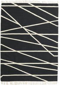 Cross Lines - Negru/Alburiu Covor 160X230 Modern Lucrate De Mână Gri Închis/Bej (Lână, India)
