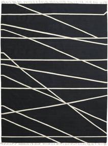 Cross Lines - Negru/Alburiu Covor 250X350 Modern Lucrate De Mână Negru Mare (Lână, India)