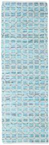 Elna - Bright_Blue Covor 80X250 Modern Lucrate De Mână Albastru Deschis/Albastru Turcoaz (Bumbac, India)