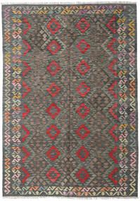 Chilim Afghan Old Style Covor 170X244 Orientale Lucrate De Mână Gri Închis/Gri Deschis (Lână, Afganistan)