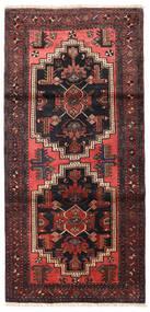 Zanjan Covor 96X202 Orientale Lucrat Manual Negru/Roșu-Închis (Lână, Persia/Iran)