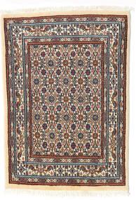 Moud Covor 62X85 Orientale Lucrat Manual Bej/Maro Închis (Lână/Mătase, Persia/Iran)