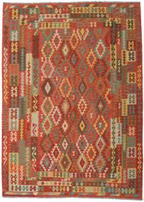 Chilim Afghan Old Style Covor 249X344 Orientale Lucrate De Mână Portocaliu/Bej Închis (Lână, Afganistan)