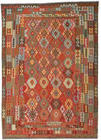 Chilim Afghan Old Style Covor 246X349 Orientale Lucrate De Mână Ruginiu/Gri Închis (Lână, Afganistan)