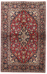 Kashan Covor 137X218 Orientale Lucrat Manual Roșu-Închis/Negru (Lână, Persia/Iran)