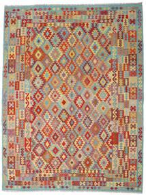 Chilim Afghan Old Style Covor 267X348 Orientale Lucrate De Mână Roșu-Închis/Gri Închis Mare (Lână, Afganistan)