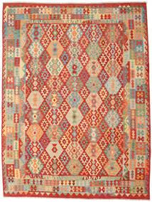 Chilim Afghan Old Style Covor 262X347 Orientale Lucrate De Mână Ruginiu/Bej Închis Mare (Lână, Afganistan)