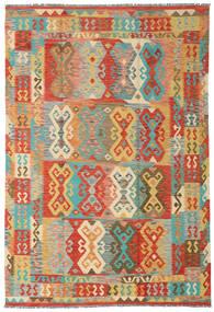 Chilim Afghan Old Style Covor 204X300 Orientale Lucrate De Mână Bej Închis/Roşu (Lână, Afganistan)