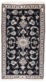 Nain Covor 75X132 Orientale Lucrat Manual Negru/Gri Deschis (Lână, Persia/Iran)