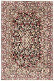 Kerman Covor 202X303 Orientale Lucrat Manual Gri Închis/Bej (Lână, Persia/Iran)