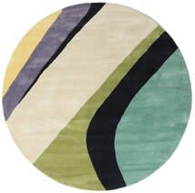 Dynamic Handtufted - Mint Covor Ø 200 Modern Rotund Bej Închis/Gri Închis/Verde Pastel (Lână, India)