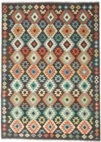 Chilim Afghan Old Style Covor 177X247 Orientale Lucrate De Mână Negru/Gri Deschis (Lână, Afganistan)