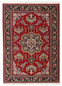 Qom Kork/Mătase Covor 102X143 Orientale Lucrat Manual Roșu-Închis/Maro Deschis (Lână/Mătase, Persia/Iran)