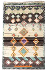 Moroccan Berber - Afghanistan Covor 87X138 Modern Lucrat Manual Bej/Maro Închis (Lână, Afganistan)