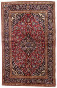Kashan Covor 135X212 Orientale Lucrat Manual Roșu-Închis/Negru (Lână, Persia/Iran)