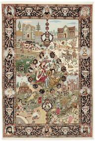 Tabriz 50 Raj Covor 150X219 Orientale Lucrat Manual Maro/Maro Deschis (Lână/Mătase, Persia/Iran)