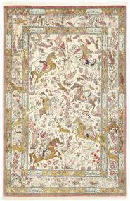 Qom Mătase Covor 132X203 Orientale Lucrat Manual Bej Închis/Gri Deschis (Mătase, Persia/Iran)