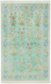 Qom Mătase Covor 102X160 Orientale Lucrat Manual Verde Pastel/Gri Deschis (Mătase, Persia/Iran)