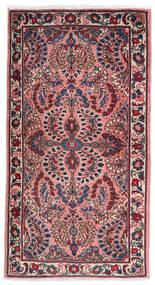 Sarouk Covor 75X140 Orientale Lucrat Manual Mov Închis/Roz Deschis (Lână, Persia/Iran)
