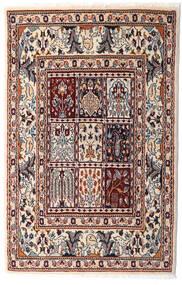 Moud Covor 76X117 Orientale Lucrat Manual Bej/Maro Închis (Lână/Mătase, Persia/Iran)
