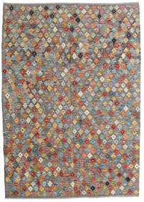 Chilim Afghan Old Style Covor 130X185 Orientale Lucrate De Mână Gri Deschis/Gri Închis (Lână, Afganistan)