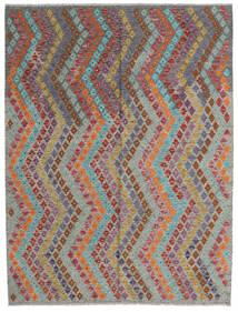 Chilim Afghan Old Style Covor 179X240 Orientale Lucrate De Mână Gri Închis/Roșu-Închis (Lână, Afganistan)