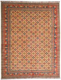 Kunduz Covor 382X488 Orientale Lucrat Manual Roșu-Închis/Bej Închis Mare (Lână, Afganistan)