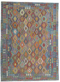 Chilim Afghan Old Style Covor 256X351 Orientale Lucrate De Mână Gri Deschis/Maro Deschis Mare (Lână, Afganistan)