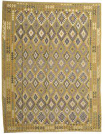 Chilim Afghan Old Style Covor 298X389 Orientale Lucrate De Mână Verde Oliv/Gri Închis Mare (Lână, Afganistan)